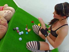 Anal whores Alysa Anita and Isabella play with gigantic dildo