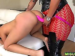 Naughty lesbian babes fuck in a rough way