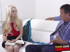 Tiny teen Elsa Jean fucked and facialized by older cock