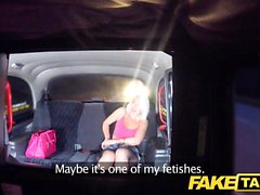 Fake Taxi Sexy blonde in tight denim shorts