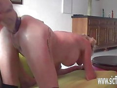 Double fisting and XXL dildo fucked amateur wife