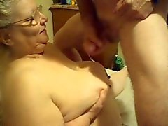 Fat busty amateur Granny loves cum on big tits