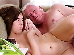 Lustful old lad explores young juicy body of a pretty beauty