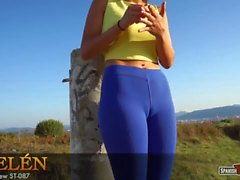 Young pretty girl showing camel toe in blue tights