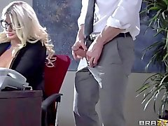 Big tittied officemate sucks cock deeply