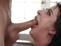 Sexual deviant with no soul gags and takes eyeball cumshot