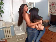 Mya Dark and Megan strip out of Their jeans