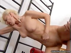 Horny blonde mature whore gets horny