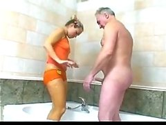 Old Man with Young Girl in Bathroom by TROC