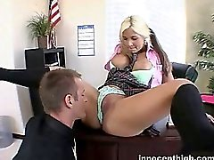 Pigtailed busty girl shows her teacher what she will do for