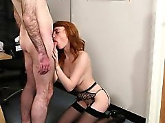 Nasty babe gets cumshot on her face swallowing all the jizz