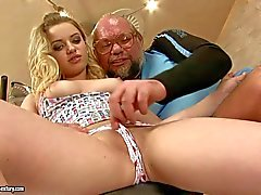 Kimy shows her tight bald pussy to older man