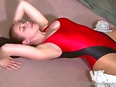 Sexy pantyhose and leotard streching