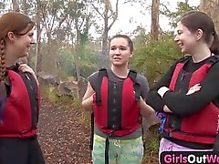 Hairy amateur girl fingered in a dangerous rafting threesome