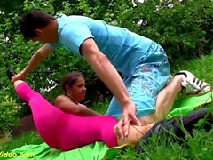outdoor flexi sex with cute teen gymnast