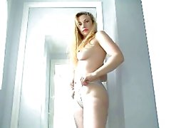 Hot blonde curvy girl strip