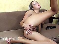 Brunette Kamilla rubs that sweet hairy pussy