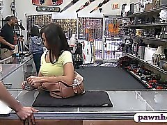 Pretty brunette babe fucked by stranger at the pawnshop
