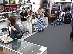 Real pawnshop milf gets bigtits out for cash