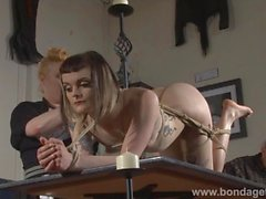 Amateur lezdom ties her goth subbie with ropes