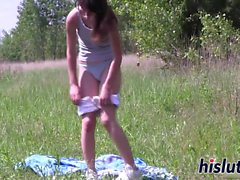 brunette, doigté, hd, masturbation, de plein air