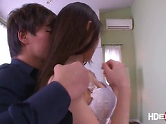 Big tits Japanese babe Chitose Saegusa gets her hairy pussy