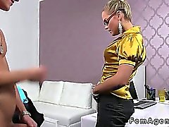 Blonde female agent with glasses fucks amateur guy