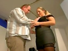 German chubby blonde in stockings boots white blouse fucks