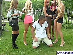 Piss loving babes wam fun outdoors