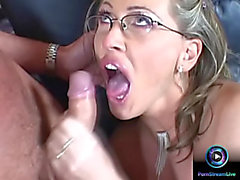 Mandy Bright in glasses getting a biggest facial