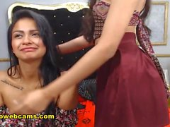 Latina Lesbians Naughty Team Up For Beautiful Fun