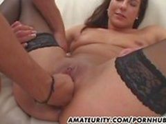 Amateur girlfriend takes 2 dicks with facial shots