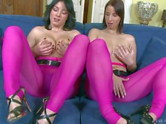 Naturally busty friends Nanny and Chrissie in pink pantyhose