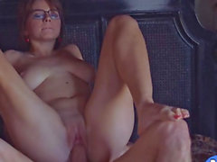 Busty wife Marina Visconti in glasses banged on the bed