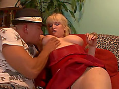 Biggest breasted obese golden-haired fatso gives titjob and not bad oral