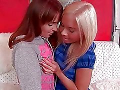 Cute teen girlfriends making hot lesbian love