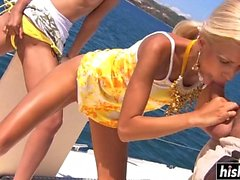 Gorgeous girls fuck together on the boat