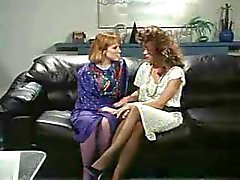 Retro Office Lesbians Pussy and Ass Licking StrapOn