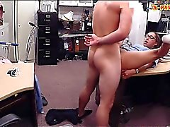 Babe with glasses pounded by pawn dude in his office