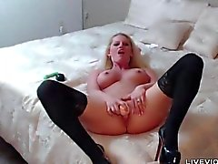 Hot blonde Jaqueline Johnson with huge DD tit