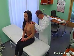 Doctor fucking a busty petite patient in his office