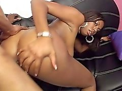 Horny black bimbo lets this hung fucker shove it up her tight asscrack