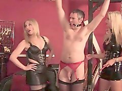 Latex bdsm milf group flogging sissy man