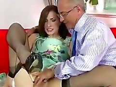 Older guy sucked by glamourous lady in stockings