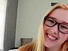 Flexible sizequeen teen in glasses facialized