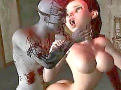 Foxy 3D cartoon babe getting fucked hard by a zombie