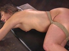abella péril, hogtied, esclavage, domination, suspension