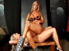 Blonde MILF dominating her slave