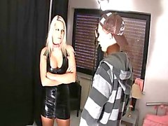 Latex Blonde Giving Head & Gets Load