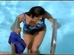 Long leged Indian actress in pool